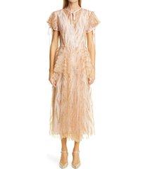 women's rodarte glitter tulle peplum dress, size 8 - metallic