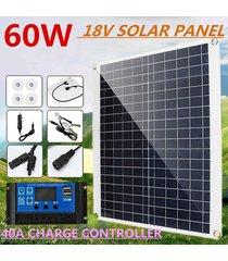 panel de 60w 18v cargador solar monocristalino dc conector usb + 40a de carga solar controlador + clip + cargador de coche para el coche barco y rv autocaravana al aire libre inicio camping - blanco antiguo