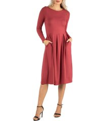 women's midi length fit and flare dress