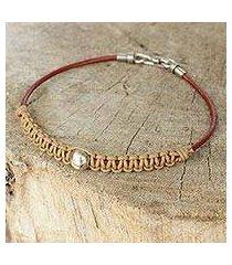men's leather and silver bracelet, 'loi krathong moon' (thailand)