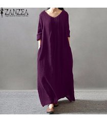 zanzea elegante de las mujeres vestido de señora con cuello en v manga larga bolsillos de camisa de vestir informal plisado sólido suelto maxi vestidos largo retro (púrpura) -púrpura