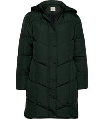 coat outerwear heavy gevoerde lange jas groen brandtex