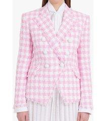 balmain white and pink gingham print tweed jacket
