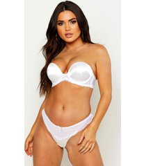 strapless satijnen super push up beha, ivory