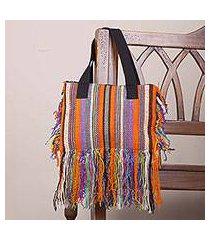 wool shoulder bag, 'fringed stripes in orange' (peru)
