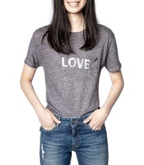 women's zadig & voltaire amber linen graphic tee, size small - blue