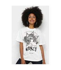 camiseta colcci mickey rocking since bordado paetê feminina