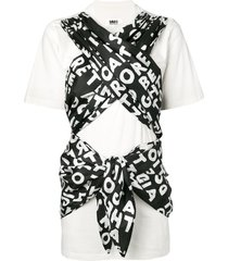 mm6 maison margiela ribbon tied t-shirt - white