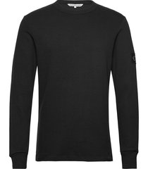 monogram badge ls tee sweat-shirt tröja svart calvin klein jeans