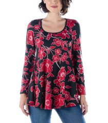 women's floral long sleeve scoop neck swing top