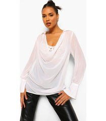 chiffon blouse met waterval hals, ivory