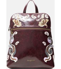 square backpack embroidered leather effect - red - u