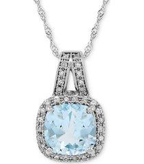 "aquamarine (1-1/3 ct. t.w.) & diamond (1/10 ct. t.w.) 18"" pendant necklace in 14k white gold"