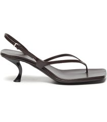 'constance' sculpted heel strappy thong slingback leather sandals