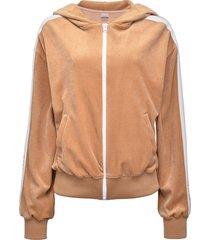 pinko textured side stripe detail hoodie - neutrals
