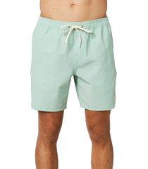 men's o'neill retrofreak solid volley swim trunks, size xx-large - green