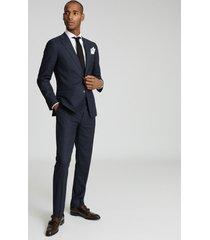 reiss dunn - textured slim fit blazer in navy, mens, size 46
