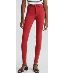 jeans skinny medium rise rojo esprit