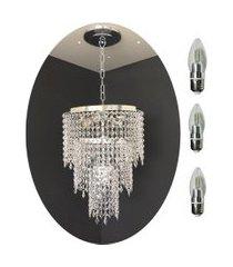 kit lustre cristal acrílico 30x70 + 3 lâmpadas led acl01