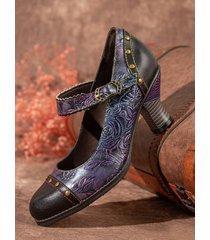 socofy elegante pelle goffrata floreale gancio décolleté mary jane con cinturino alla caviglia con cinturino alla cavigl