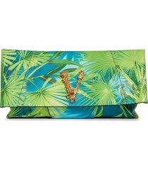 versace first line virtus jungle print clutch -