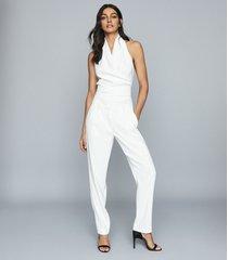 reiss adrienne - halter neck top in white, womens, size 12
