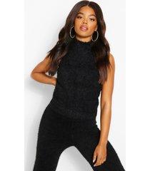 fluffy yarn knitted top, black
