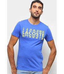 camiseta lacoste estampada manga curta masculina - masculino