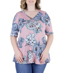 plus size flared rose floral elbow sleeve tunic top