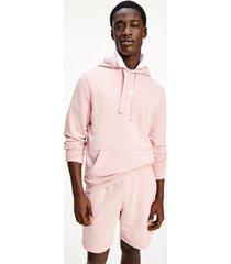 tommy hilfiger men's cotton terry solid hoodie glacier pink - xs