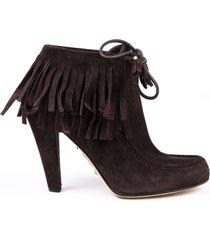 gucci brown suede fringe moccasin block heel booties brown sz: 8