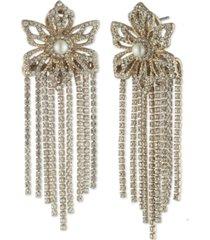 marchesa gold-tone crystal & imitation pearl flower fringe drop earrings