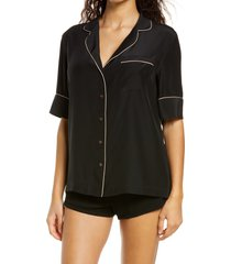 women's kiki de montparnasse silk pajama shirt, size large - black