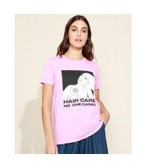 "t-shirt feminina mindset hair care"" manga curta decote redondo rosa"""