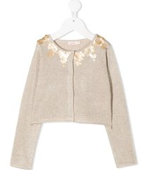 billieblush long-sleeve sequin cardigan - neutrals