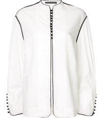 haider ackermann oversized button front jacket - white