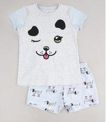 pijama infantil cachorro manga curta cinza mescla claro