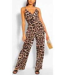 animal print jumpsuit, brown