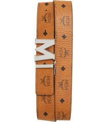 men's mcm reversible signature leather belt, size one size - cognac