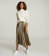 reiss gemma - metallic pleated midi skirt in gold, womens, size 12
