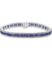 effy sapphire (8-1/4 ct. t.w.) & diamond (9/10 ct. t.w.) link bracelet in 14k white gold