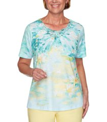 alfred dunner spring lake printed lace-trim top