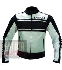 yamaha 5241 black leather motorcycle motorbike  stylish cowhide safety  jacket