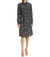 boss devitta floral long sleeve faux wrap midi dress, size 6 in black fantasy at nordstrom