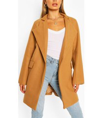 notch neck wool look coat, camel
