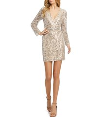 mac duggal sequin stripe long sleeve cocktail dress, size 10 in nude silver at nordstrom