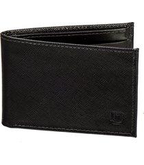 carteira masculina malbork em couro - para seis cartões cor preto linho preto