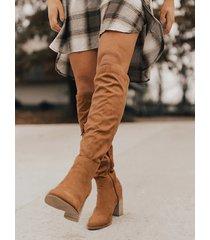 botas hasta la rodilla de ante con cremallera lateral