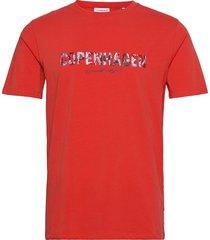 copenhagen embroidery tee s/s t-shirts short-sleeved röd lindbergh