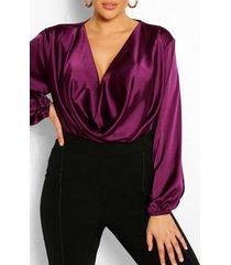 plus satin cowl long sleeve blouse, purple